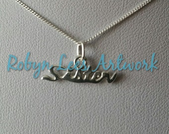 Solid 925 Sterling Silver Sister Word Charm Necklace on Fine 925 Sterling Silver Chain. Gift, Family, Dainty, Cute