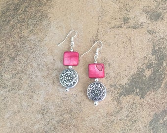 Aztec Style Silver Pieces Accented w/Magenta Bead Earrings