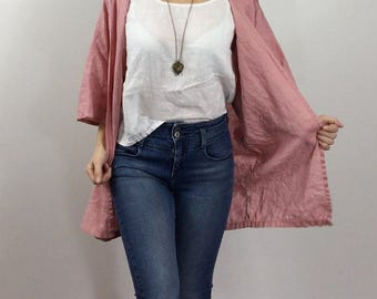 Light Linen Cardigan / Sweater - One Size - Cover Up