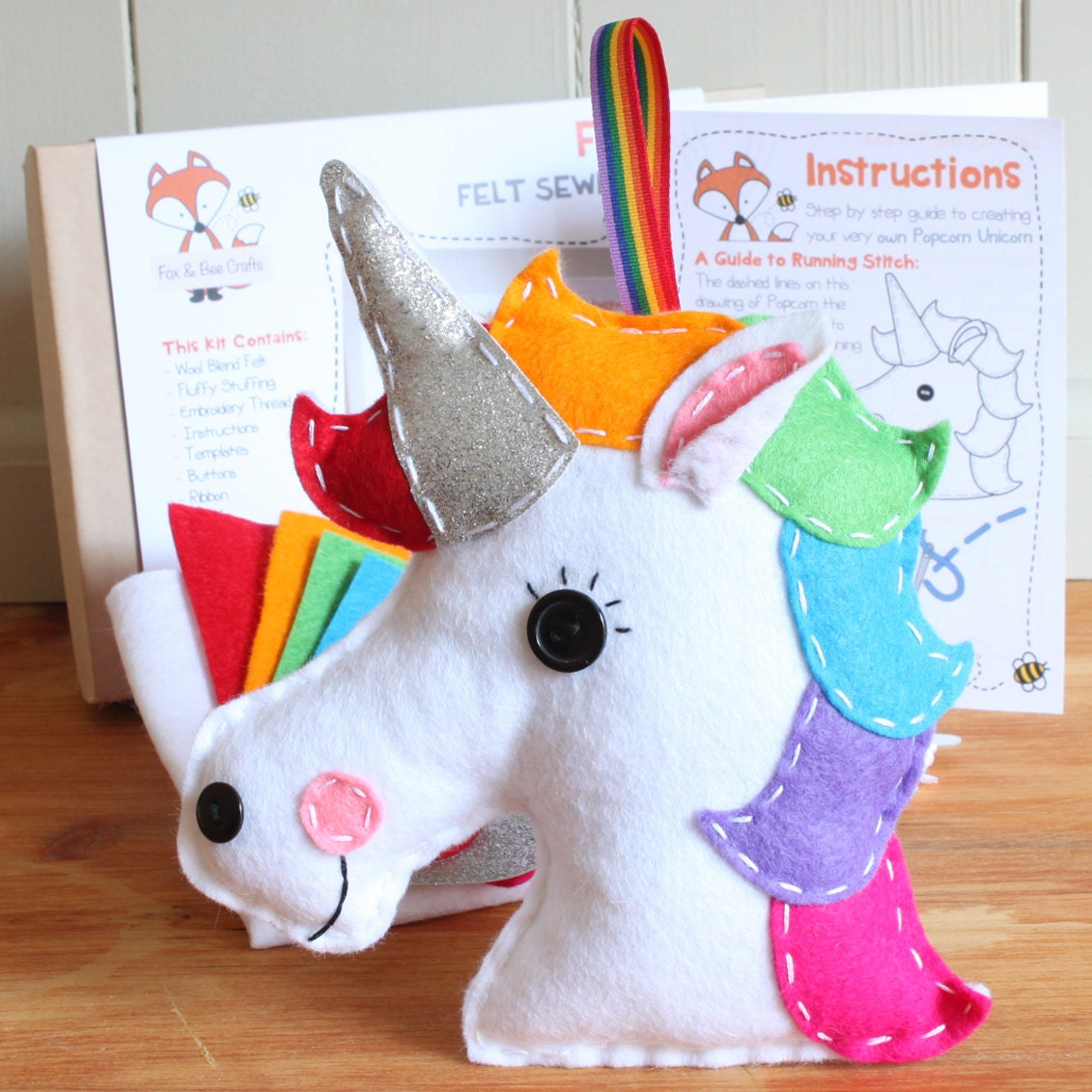 personalised popcorn the unicorn felt sewing kit perfect