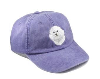Bichon Frise embroidered hat, baseball cap, dog lover gift, pet mom cap, dad hat, mom, gift for pet lover, dog agility, dog lover hat