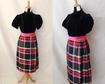 1950s Black Velvet Puff Sleeve Dress with Pink Plaid Skirt Pink Ribbon   50s Fit and Flare Party Dress   High Collar Midcentury