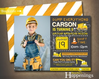 Construction Birthday Invitation Construction Invitation Construction Invite Dump Truck Invitation Digital File by Busy bee's Happenings
