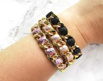 Gold Leather Stacker / Chain Bracelet / Chain Link / Gold Chain / Leather Bracelet / Coco Bracelet / Chanel Inspired / Metallic Leather