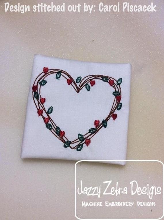 Simple heart vine wreath sketch embroidery design