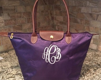 Monogramed Tote Bag, Personalized Nylon Purse, Travel Tote, Bridesmaid's Gifts, Back To School, Embroidered Tote, Tote Bag, Preppy Tote Bag,