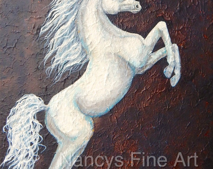 White unicorn wall art, original fairy unicorn painting on canvas, white textured horse painting by Nancy Quiaoit