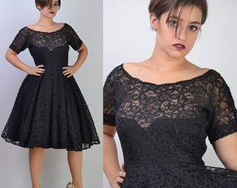 vintage 50s Lace Party Dress | Black FULL CIRCLE SKIRT Wedding Prom Dress | Sequin Bodice