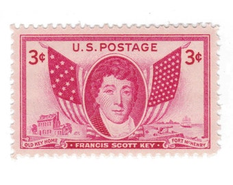 10 Unused Vintage Postage Stamps - 1948 3c Francis Scott Key - Item No. 962