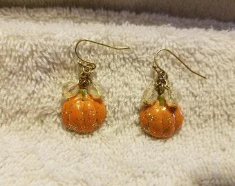 Vintage Dangling Pumpkin Earrings