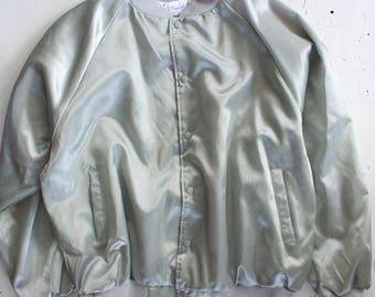XXL Silver Gray Satin Bomber Jacket