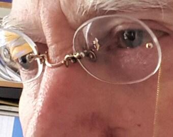 Rimless pince nez, antique pince nez, Edwardian eyeglasses, fingerpiece pincenez, gold filled pincenez, vintage spectacles, gold glasses
