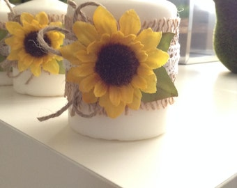 Candles / White Decorative Candles / Set of 4 / Sunflowers Candles Set / Sunflowers Decorative Candles Set / White Sunflower Candles