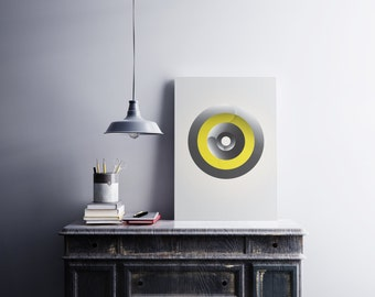 Grey and Yellow Minimalist Geometric Contemporary Modern Graphic Design Art Poster