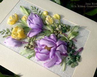 Alpine flowers Silk Ribbon Embroideried Card