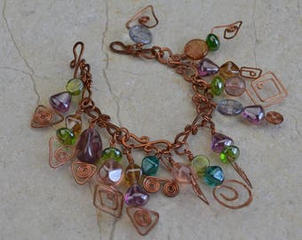 Artisan Handmade Copper Wire Worked Bracelet with Czech Glass Drops and Hammered Links, Coils, Hearts, Wirewrapping, Charm Bracelet, Sparkle