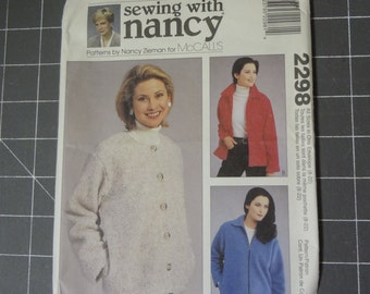 McCalls 2298  Sewing with Nancy Misses Unlined Jacket/Coat - sizes 8 - 22