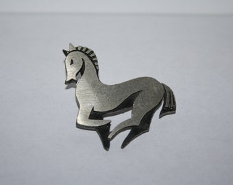 Vintage Silver Tone Horse Brooch / Pin Unicorn galloping
