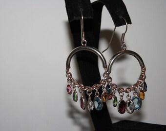 Vintage Sterling Silver Multi-stone earrings | Pierced Dangle