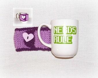 Crochet Coffee Tea Mug Cozy, Mug Sleeve Purple Lavender Heart Cozy Sleeve White Coffee Cup Mug Nerds Rule Mug Included Teen Crochet Gift