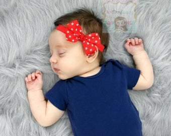 Patriotic Fourth 4th Of July Baby Girls Newborn Headband Red White Stars