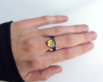 Citrine ring, yellow gemstone ring, Sterling silver gemstone ring, natural gemstone citrine ring, modern ring, black platinum plated