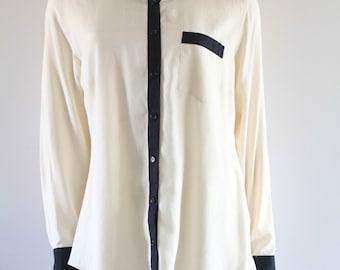 90's Vintage Ivory + Navy Silk Sleepy PJ Style 'Night' Shirt/ Oxford