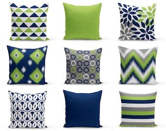 Outdoor Pillows, Navy Pear Green White Grey, Outdoor Home Decor, Outdoor Throw Pillows