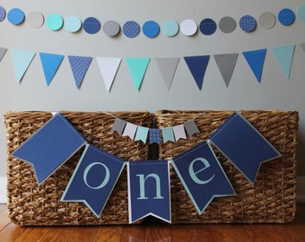 ANY COLOR first birthday boy decorations- blue turquoise aqua navy- cake topper banner - Highchair banner ONE - paper garland banner bunting
