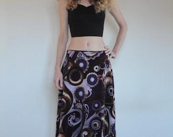 60's velvet psychedelic A-line floral skirt