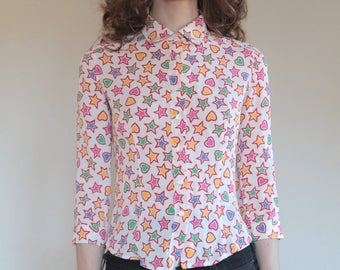 90's Prada hearts and stars silk button up blouse size small