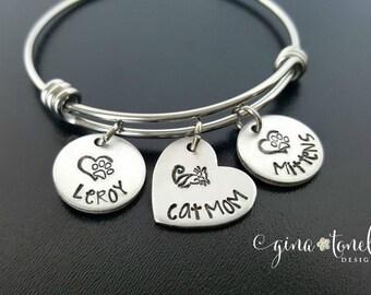 Cat Mom Bracelet, Cat Lover Bracelet, Personalized Cat Lover Gift, Paw Print Bracelet, Personalized Animal Bracelet, Crazy Cat Lady Jewelry