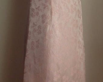 1960's Champagne Pink Floral Brocade Empire Waist Sleeveless Evening Gown/Full Length