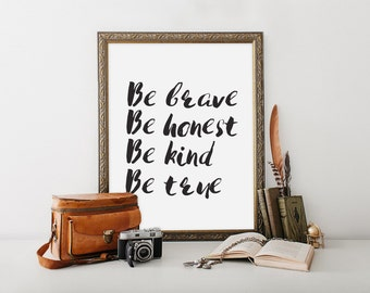 "Be Brave Print, wall art quote, scripture, nursery wall art, quote print, quote art, inspirational quote, Typography, Quote, ""Print"""