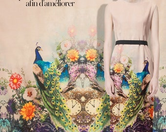 Printed couture fashion fabric,peacock,floral pattern,faux crepe de chine silk,sew for top,vest,shirt,skirt,dress,pants,craft by 148cm*115cm
