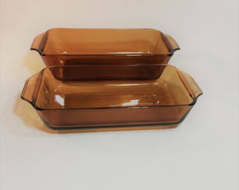 Vintage Anchor Hocking Amber Loaf Pan Bread Pan and Casserole Dish, 2 Piece Set