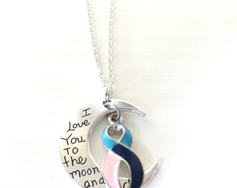 Thyroid Cancer/Disease Hashimotos Graves Awareness Ribbon I Love You To the Moon and Back Necklace You Select Chain Material and Length