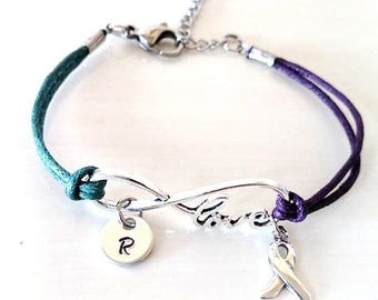Teal Purple LOVE Infinity Bracelet You Choose Your Cord Color(s) and Optional Letter Initial and/or Ribbon Charm