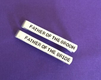 SET OF 2 - Father of The Bride Gift, Father of the Groom Gift, Hand Stamped Tie Clip, Aluminum Tie Bar, Personalized Gift for Him, Wedding