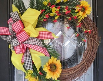 Grapevine Wreath, Spring Wreath, Summer Wreath, Door Hanger, Sunflower wreath, Front door wreath, Ready to ship