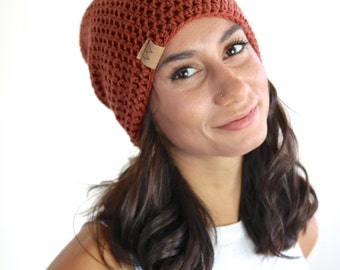 ACRYLIC Soft Light Weight Wool Slouchy Beanie Rust