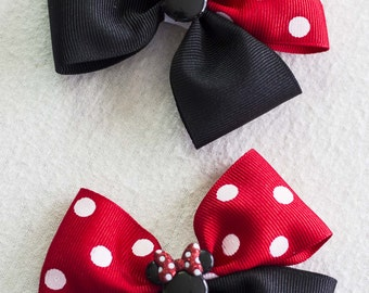 Minnie Mouse hair bow, Disney hair bow, Hair Clip, Minnie Bow, Toddler Bow, **Read item description for processing times**