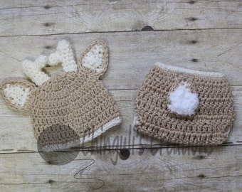 Baby Deer Hat with Diaper Cover Crochet Deer hat and Diaper Cover  Baby Animal outfit Brown Deer Hat and Tan Antlers