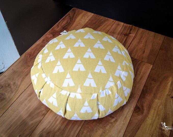 Meditation Cushion Traditional Zafu Yellow Tipi buckwheat pillow handmade yoga gear by Creations Mariposa