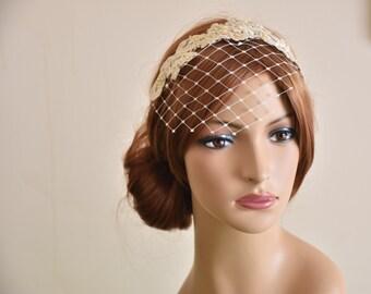 Birdcage veil headband, bridal headband, birdcage veil ivory, wedding birdcage, lace birdcage veil, lace headpiece, bridal head band
