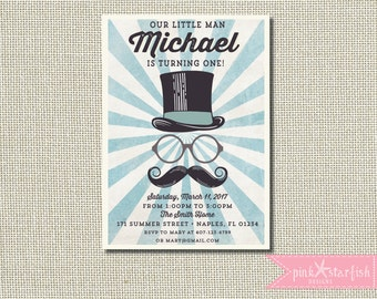 Little Man Birthday Invitation, Mustache Birthday Invitation, Little Man Invitation, Mustache Bash Invitation, Gentleman Invitation, Vintage