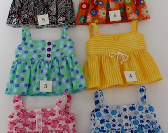 18 inch girl doll clothes - SUMMER FUN: Lots of TOPS! Breezy cool in 6 different print options