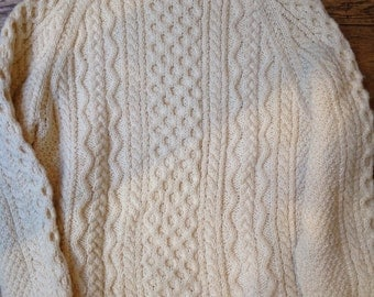 """Vintage cream white cable knit irish chunky sweater jumper 100% wool fisherman 46"""" chest crew neck"""