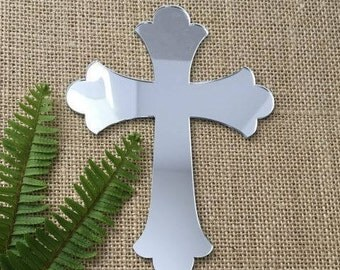 Cross Acrylic Silver Mirror Cake Topper, Baptism, Christening, Holy Communion