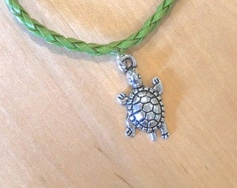 TURTLE ANKLET turtle charm green faux leather cord